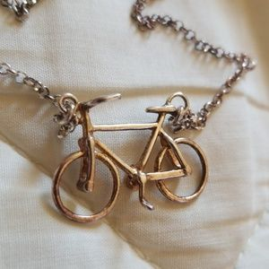 Vintage Bicycle pendant & chain 925 italy 2tone